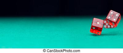 образ, of, два, игральная кость, falling, на, зеленый, таблица