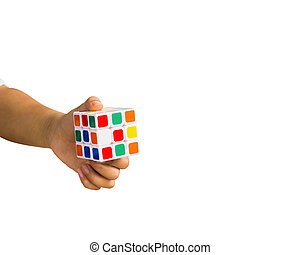 , обрезанные, of, женский пол, рука, держа, рубик, куб, против, белый, задний план, включают, вырезка, path.