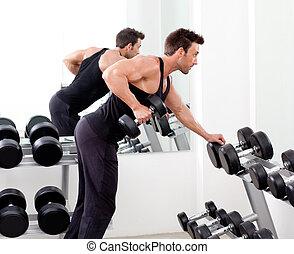 обучение, вес, гимнастический зал, оборудование, спорт, человек