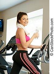 обучение, женщина, клуб, молодой, машина, фитнес, упражнение