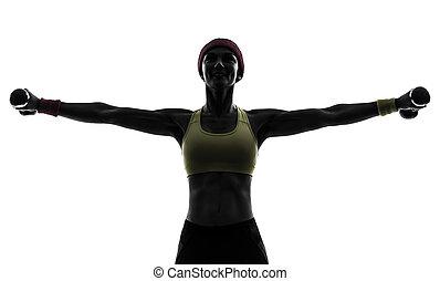 обучение, женщина, силуэт, вес, разрабатывать, exercising, фитнес