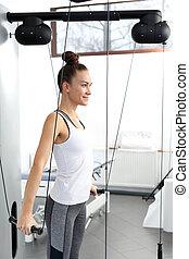 обучение, женщина, load., молодой, машина, exercises, реабилитация