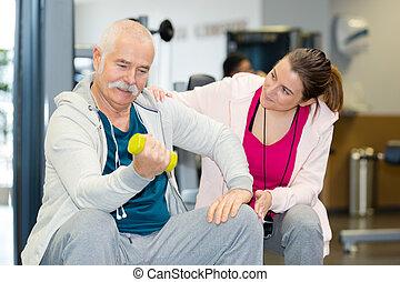 обучение, человек, фитнес, his, терапевт, старшая, студия