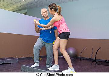 обучение, his, тренер, студия, фитнес, старшая, человек