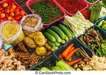 овощной, в, рынок, стойло