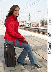 ожидание, для, поезд