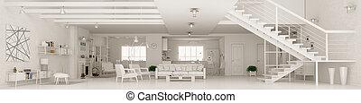 оказание, квартира, панорама, интерьер, 3d, белый