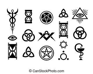 оккультный, знаки, and, магия, stamps