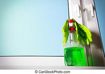 окна, инструменты, уборка