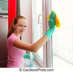 окно, женщина, уборка
