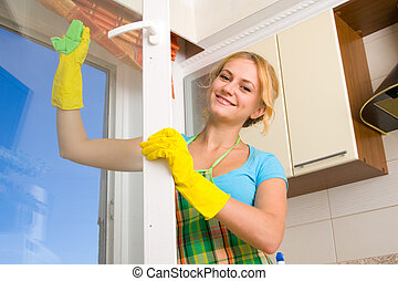 окно, женщины, 3, уборка
