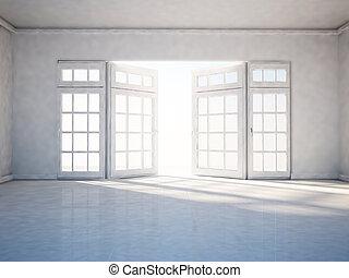 окно, открытый, комната, пустой
