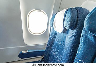 окно, современное, самолет, сиденье