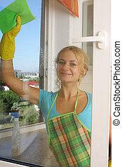 окно, уборка, женщины