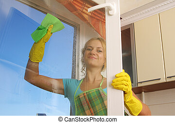 окно, 2, уборка, женщины