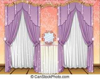 окно, curtains, иллюстрация