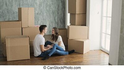 около, квартира, очень, пара, молодой, перемещение, новый, в восторге, счастливый