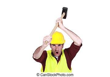 около, колотушка, объект, работник, бах, строительство