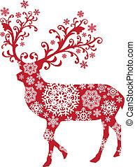 олень, вектор, рождество