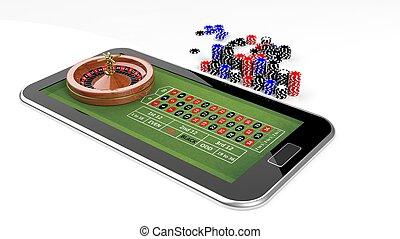 онлайн, казино, концепция, with, таблетка, рулетка, and, чипсы, isolated