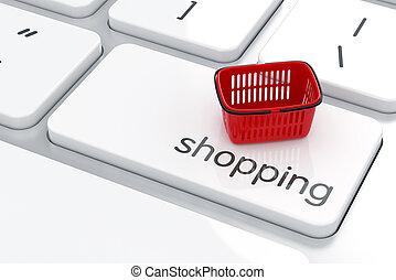 онлайн, поход по магазинам, концепция