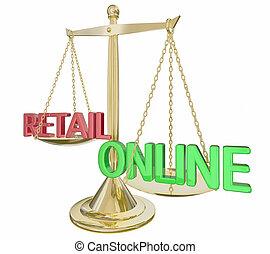 онлайн, vs, розничная торговля, золото, масштаб, words, e-commerce, 3d, иллюстрация