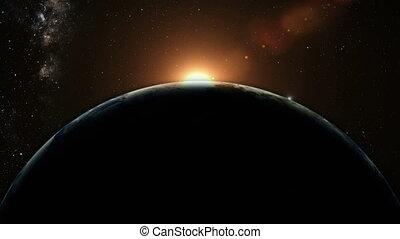 оранжевый, восход, над, земля