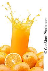 оранжевый, сок, splashing