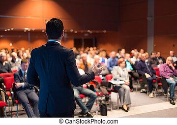 оратор, в, бизнес, конференция, and, presentation.