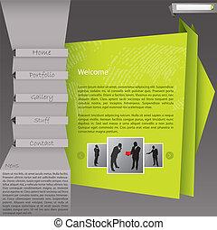 оригами, стиль, веб-сайт, шаблон, дизайн