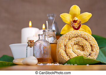 орхидея, цветок, полотенце, аромат, oils, дзэн, stones