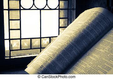 освещенный, запятнанный, библия, старый, стакан