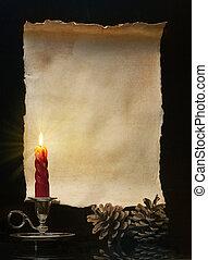 освещенный, марочный, рулон, свеча