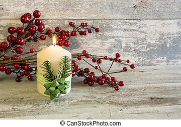 освещенный, свеча, berries, придерживаться, красный