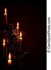 освещенный, свечи, день отдыха, рождество, падуб