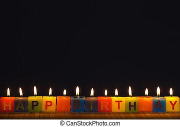 освещенный, свечи, день рождения, счастливый