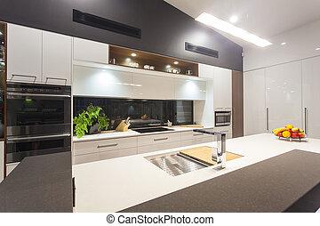 освещенный, современное, светодиод, кухня