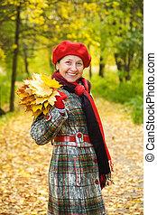 осень, женщина, парк, пожилой