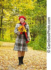 осень, женщина, пожилой, счастливый