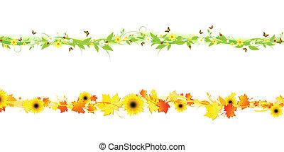 осень, лето, линия