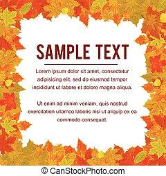 осень, рамка, из, falling, foliage., дизайн, вектор