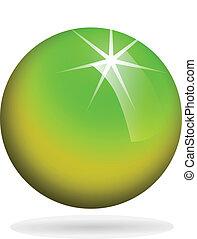 основной момент, сфера, зеленый, желтый, стакан