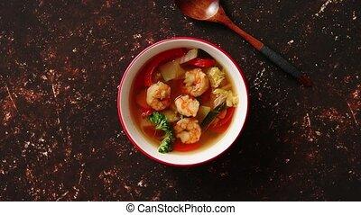 острый, креветка, традиционный, суп, ням, том, тайский