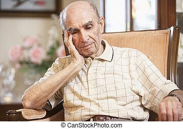 отдыха, старшая, человек, кресло