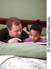 отец, чтение, к, дочь