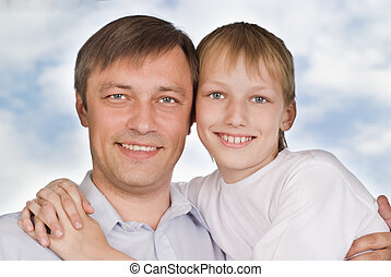 отец, and, сын, на, , белый