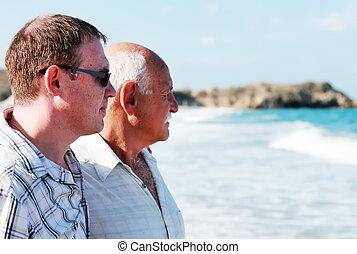 отец, and, сын, на, , пляж