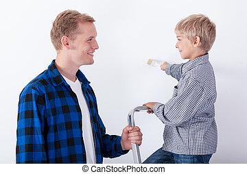отец, learning, his, сын, картина, , стена
