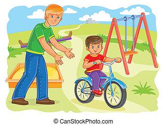 отец, teaches, к, поездка, байк, немного, мальчик