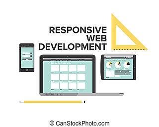 отзывчивый, дизайн, web, разработка, квартира, иллюстрация
